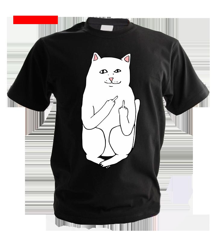 Черная футболка - кот с факами 3550